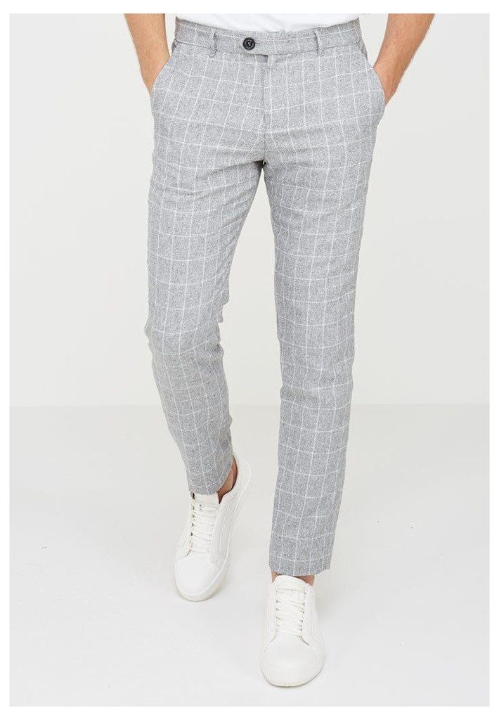 Checked Trousers - Light Grey