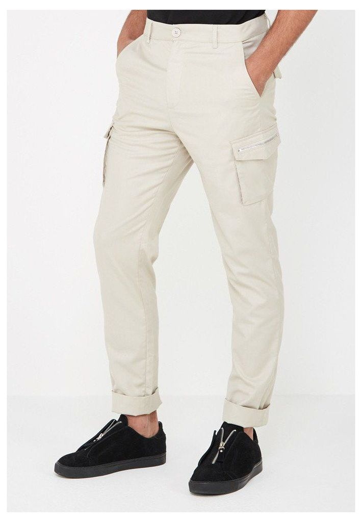 Zipper Cargo Trousers - Stone