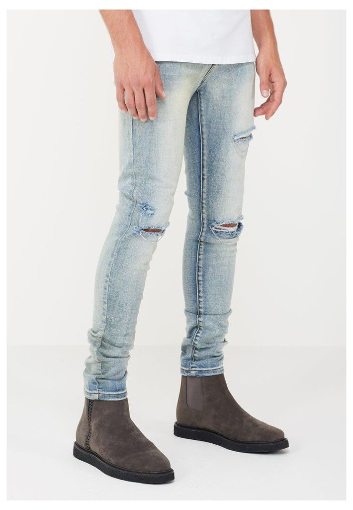 Distressed Jeans with Chain Detail - Light Wash