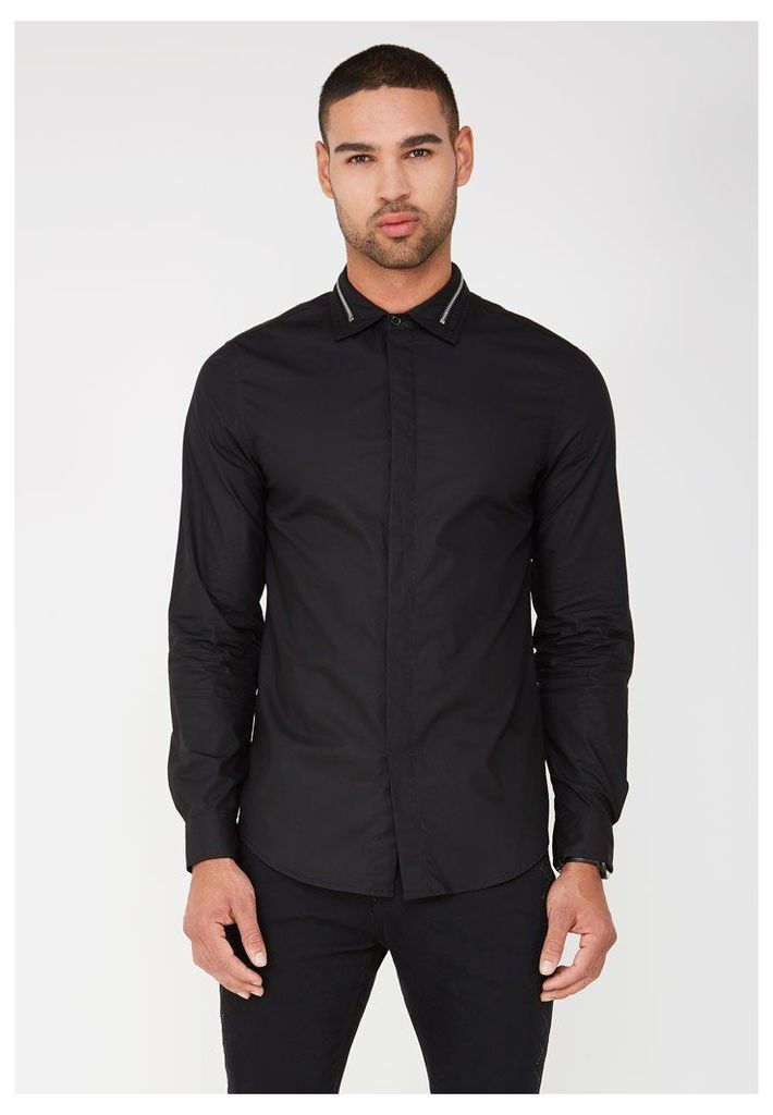 Zip Collar Shirt - Black