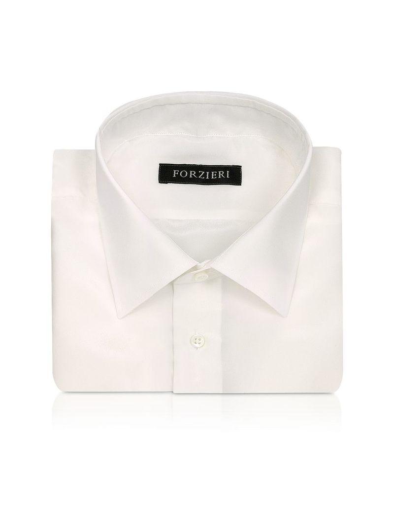 Forzieri Dress Shirts, Ivory Pure Silk Dress Shirt