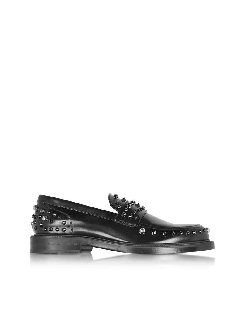 Jimmy Choo Shoes, Don Black Shiny Leather Loafer w/Gunmetal Studs