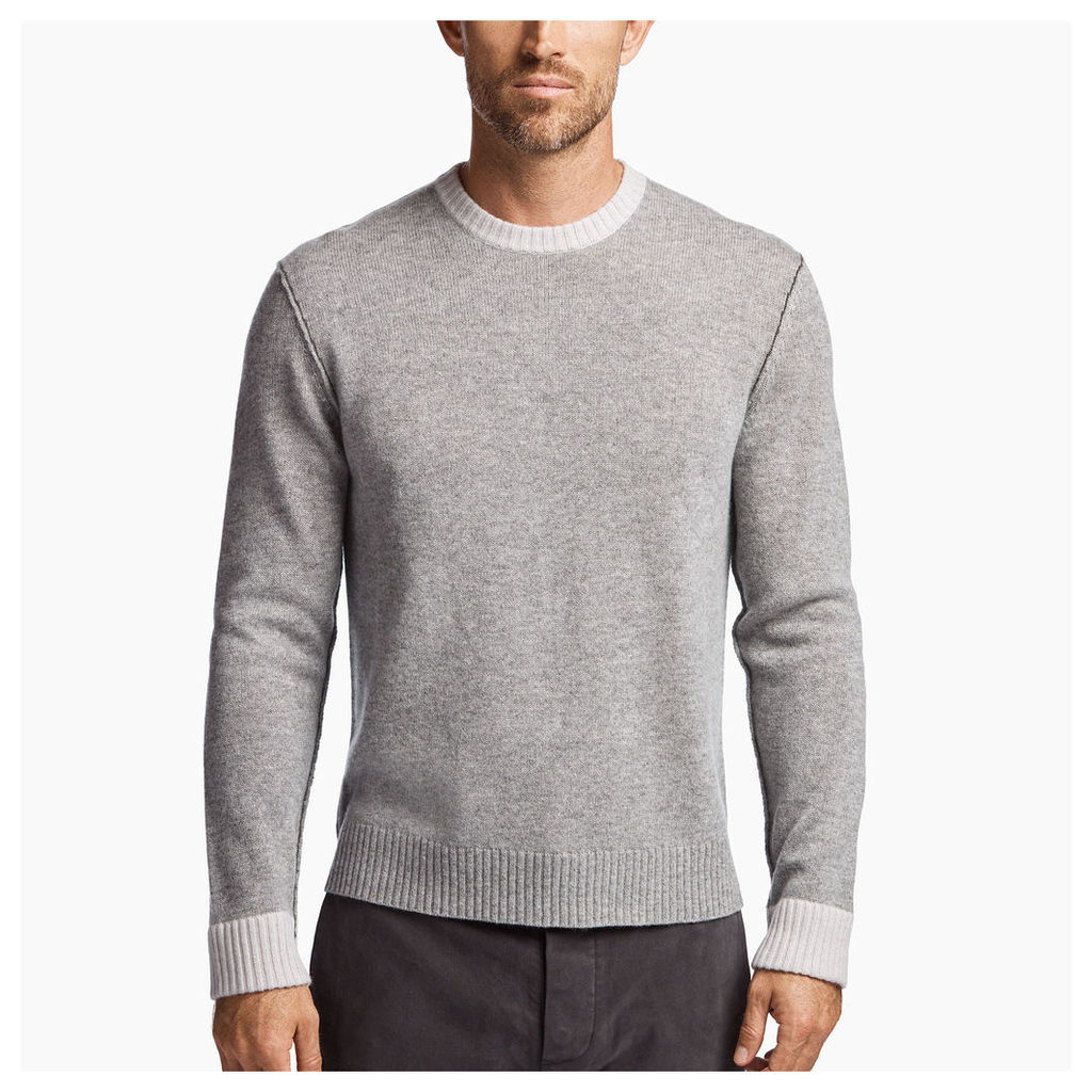 CONTRAST LINKED CASHMERE CREW