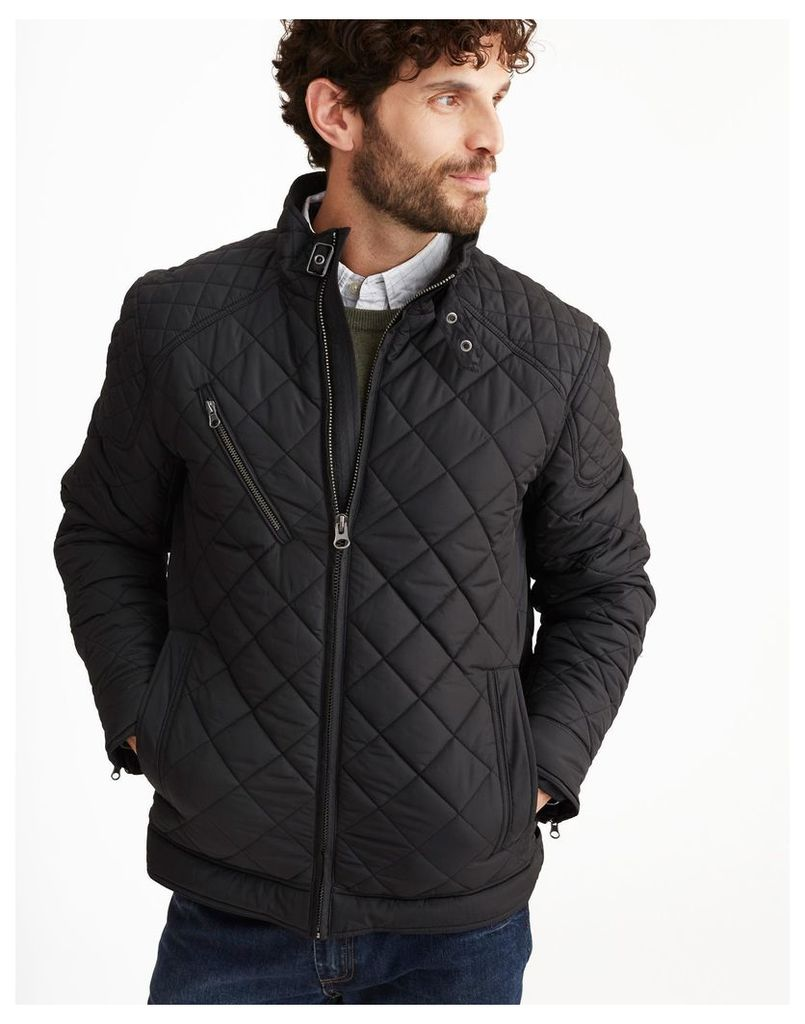 Black Myers Quilted Biker-Style Style Jacket  Size XXL | Joules UK