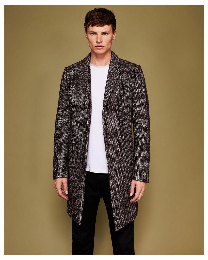 Ted Baker Herringbone bouclé wool-blend coat Red