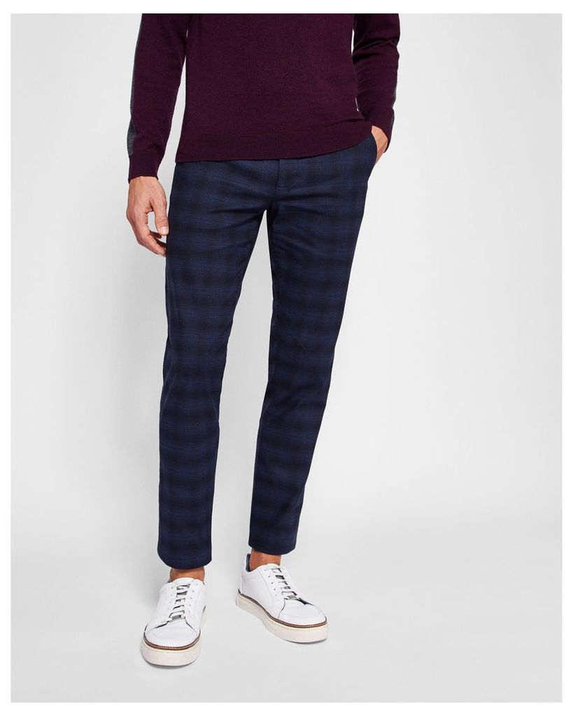 Ted Baker Slim fit checked trousers Navy