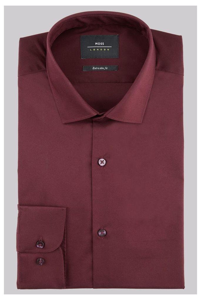 Moss London Extra Slim Fit Burgundy Single Cuff Stretch Shirt