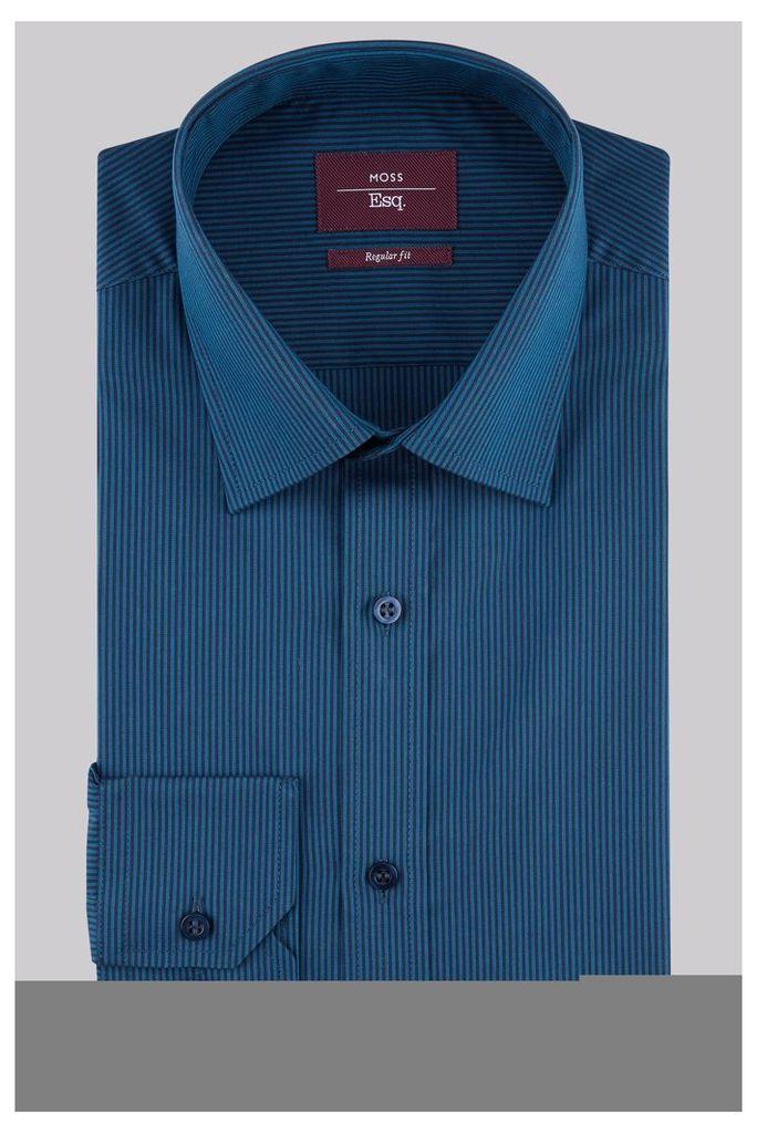 Moss Esq Regular Fit Teal Single Cuff Stripe Shirt