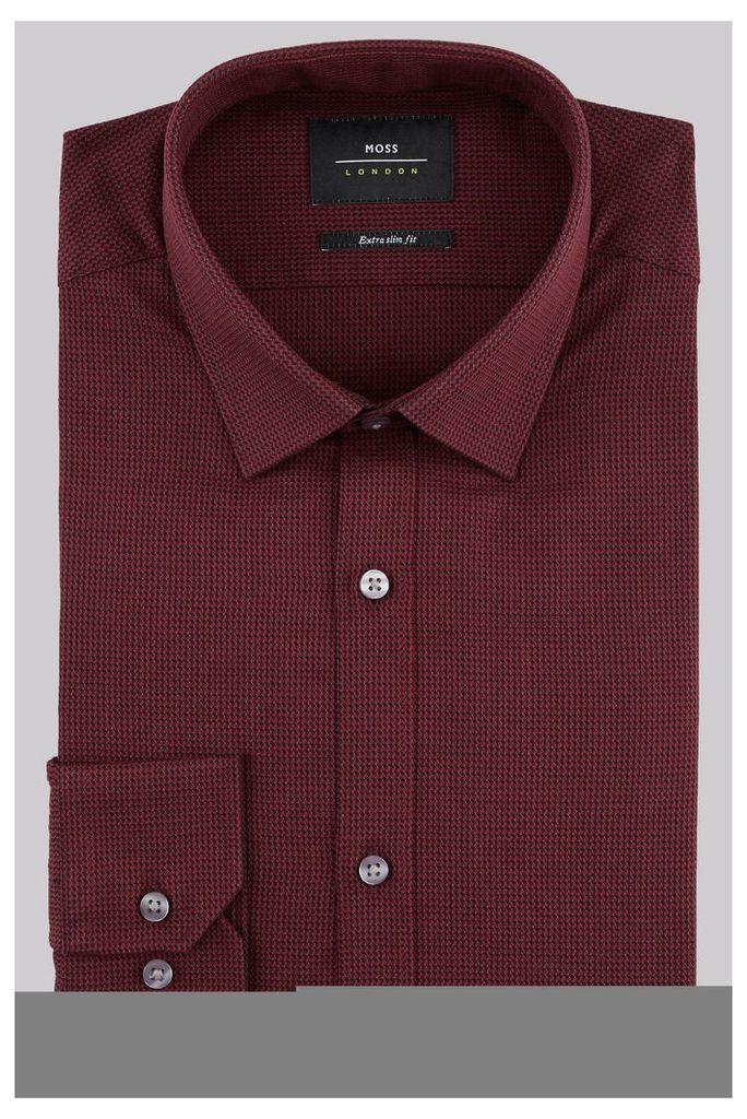 Moss London Extra Slim Fit Wine Single Cuff Puppytooth Texture Shirt