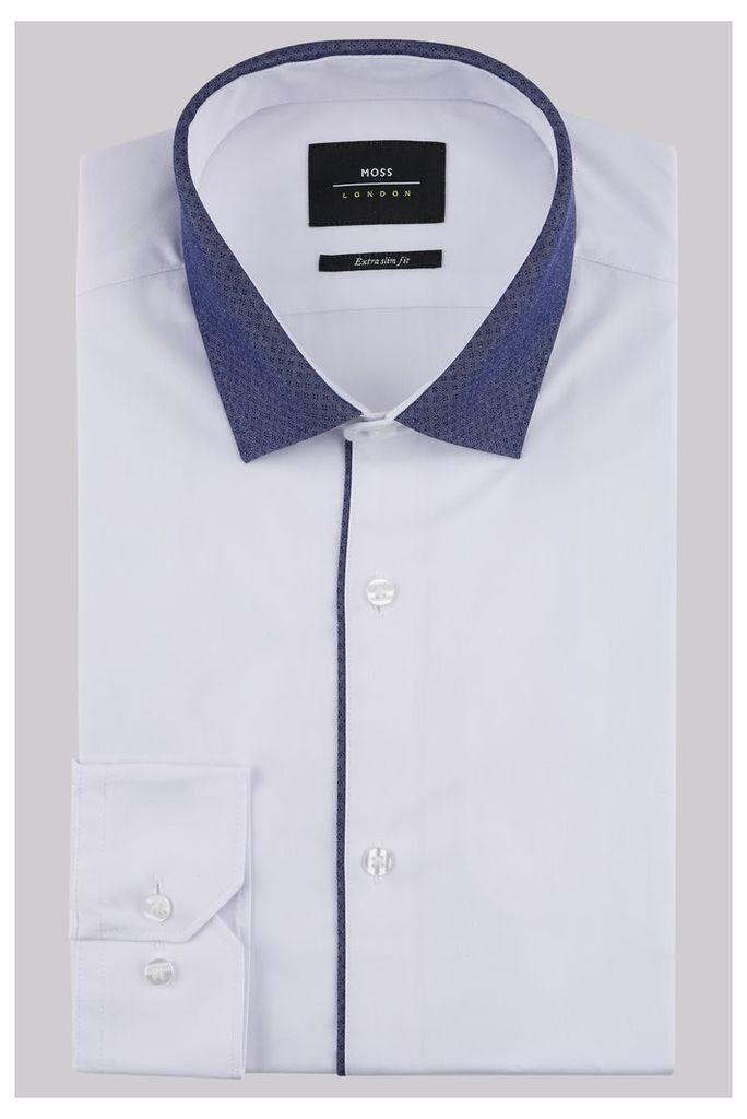 Moss London Extra Slim Fit White Single Cuff Contrast Collar Shirt