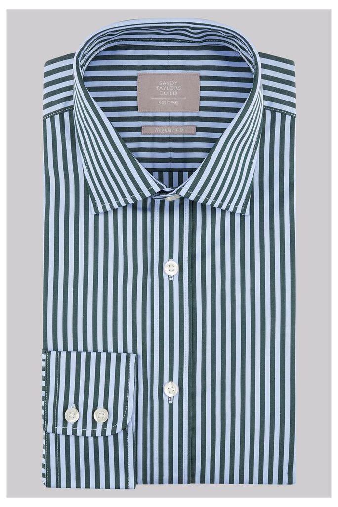 Savoy Taylors Guild Regular Fit Green Single Cuff Bengal Stripe Shirt