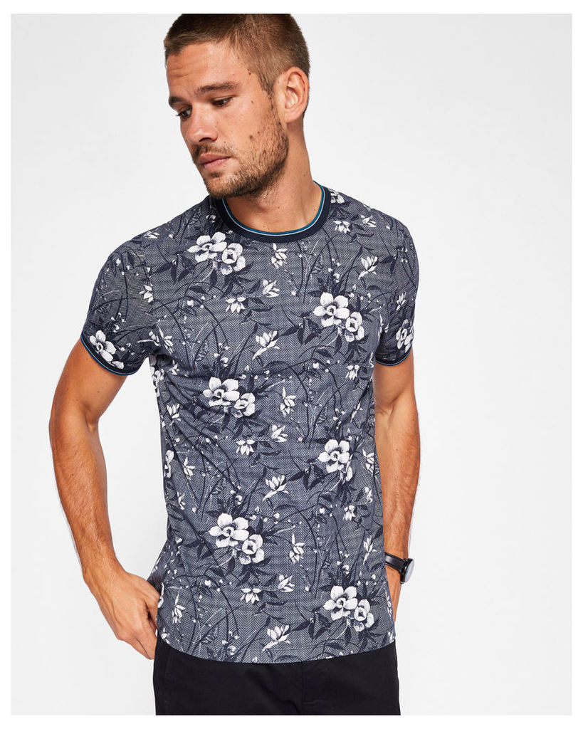 Ted Baker Floral print T-shirt Navy