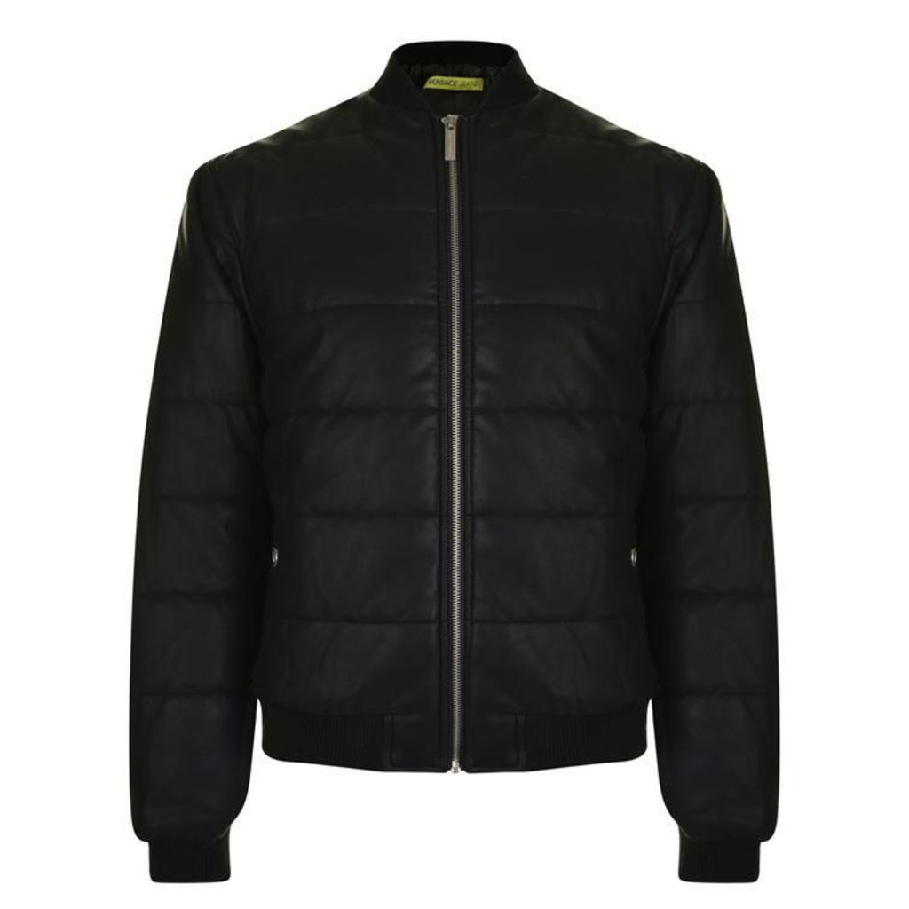 VERSACE JEANS Leather Look Bomber Jacket