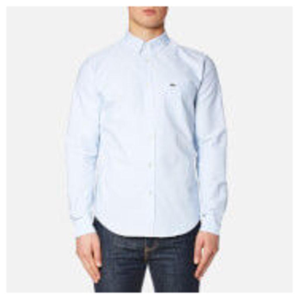 Lacoste Men's Oxford Long Sleeve Shirt - Atmosphere/White