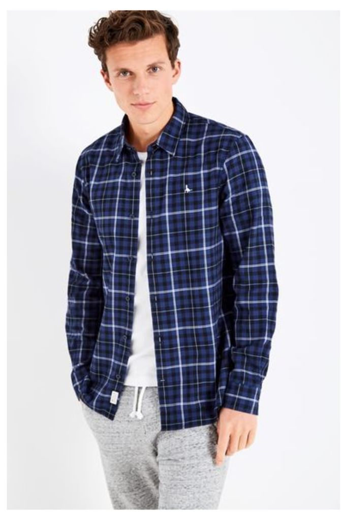 SALCOMBE LW FLANNEL CHECK SHIRT BLUE