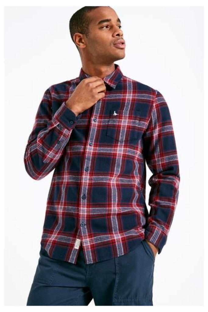 STANWICK MW FLANNEL CHECK SHIRT NAVY/RED