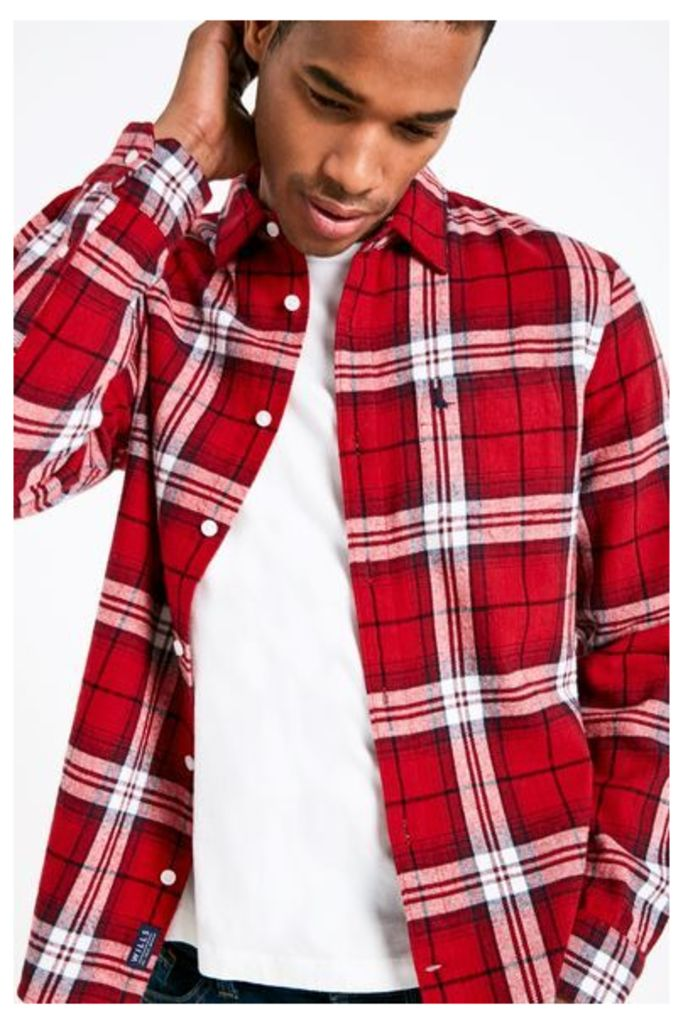 STANWICK MW FLANNEL CHECK SHIRT RED