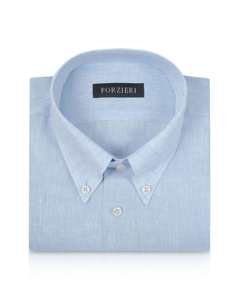 Forzieri Dress Shirts, Light Blue Linen Dress Shirt