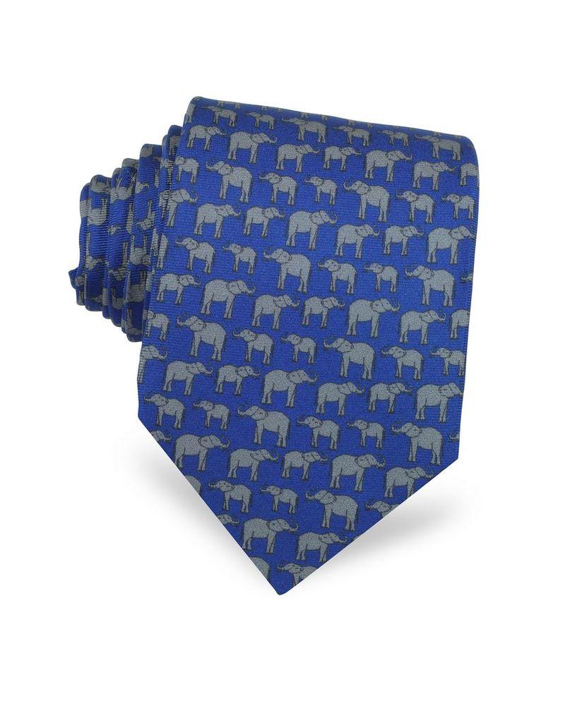 Laura Biagiotti Ties, Elephants Print Silk Tie