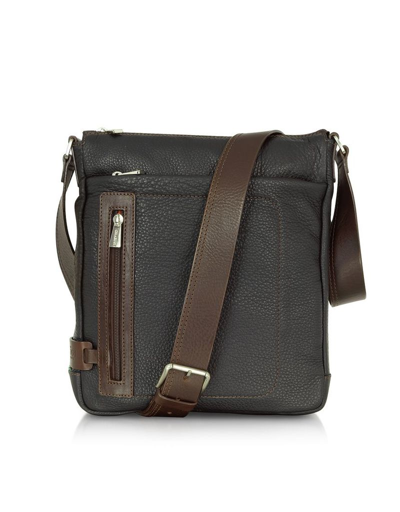 Chiarugi Travel Bags, Black and Brown Leather Vertical Messenger