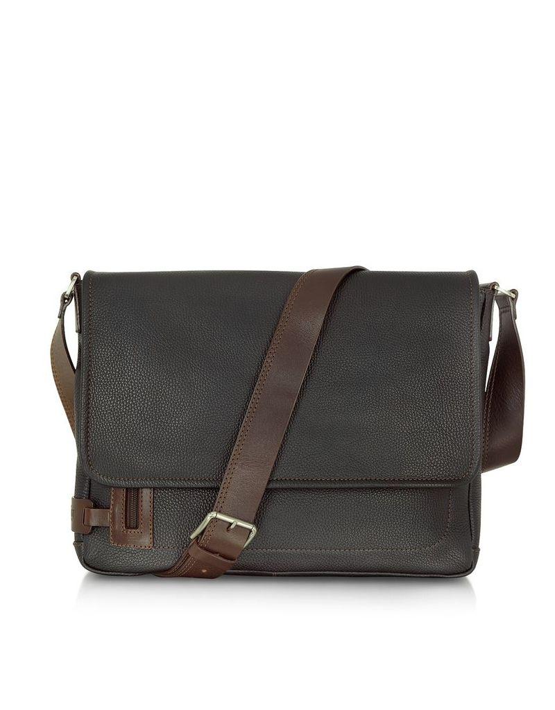 Chiarugi Travel Bags, Black Leather Messenger Bag
