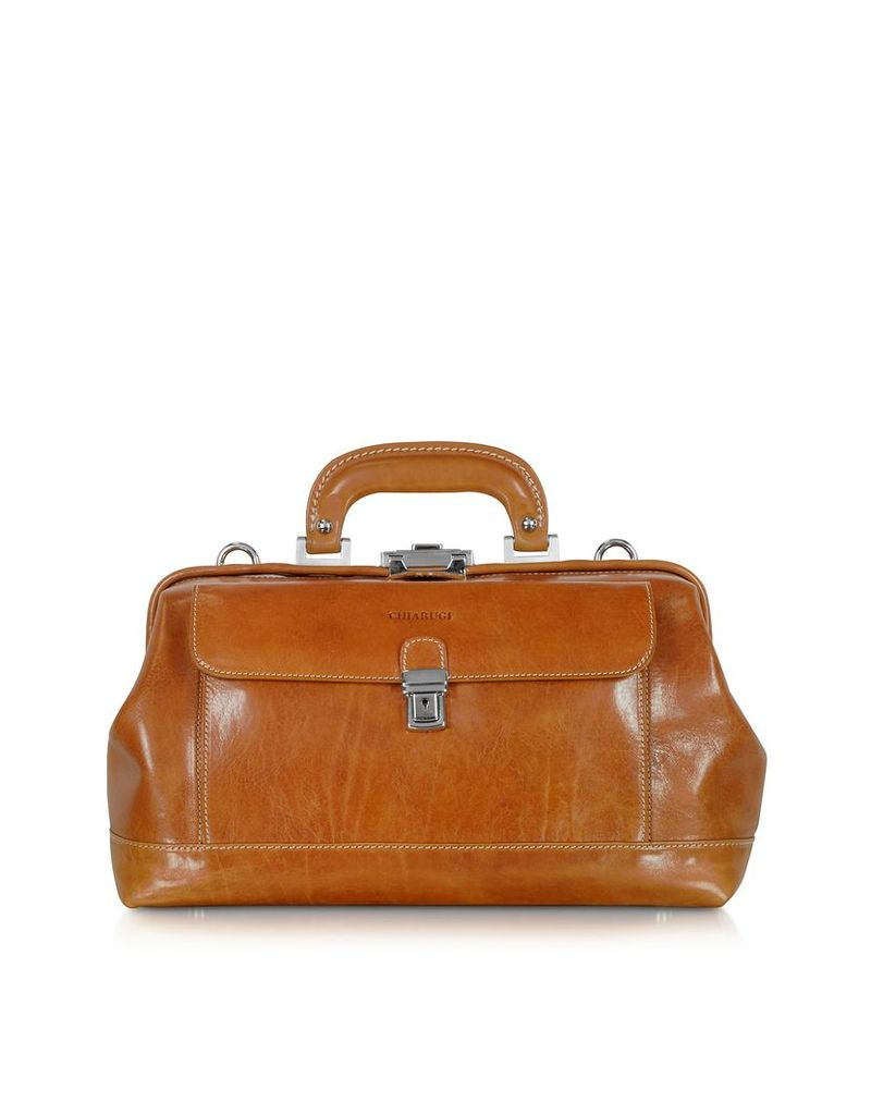 Chiarugi Briefcases, Small Cognac Leather Doctor Bag