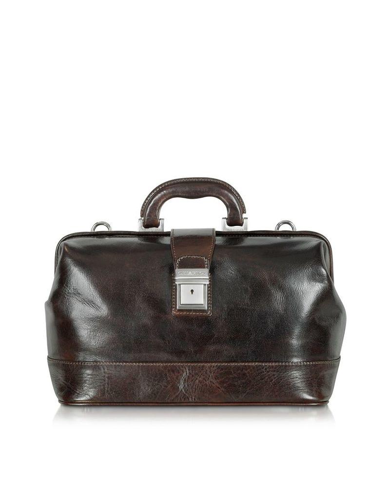 Chiarugi Briefcases, Medium Dark Brown Leather Doctor Bag