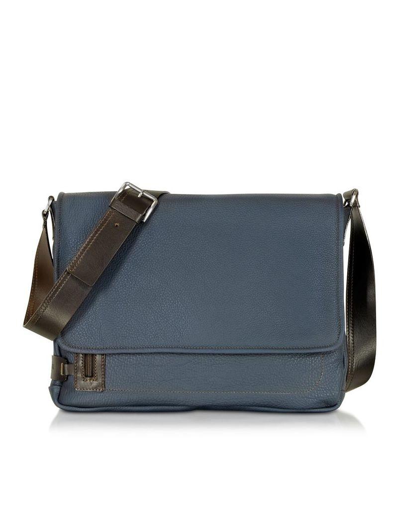 Chiarugi Briefcases, Midnight Blue Leather Messenger