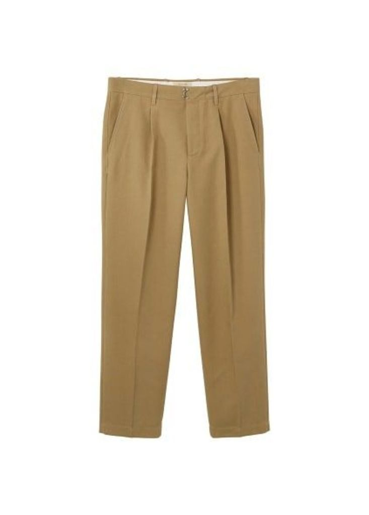 Pleated cotton chinos