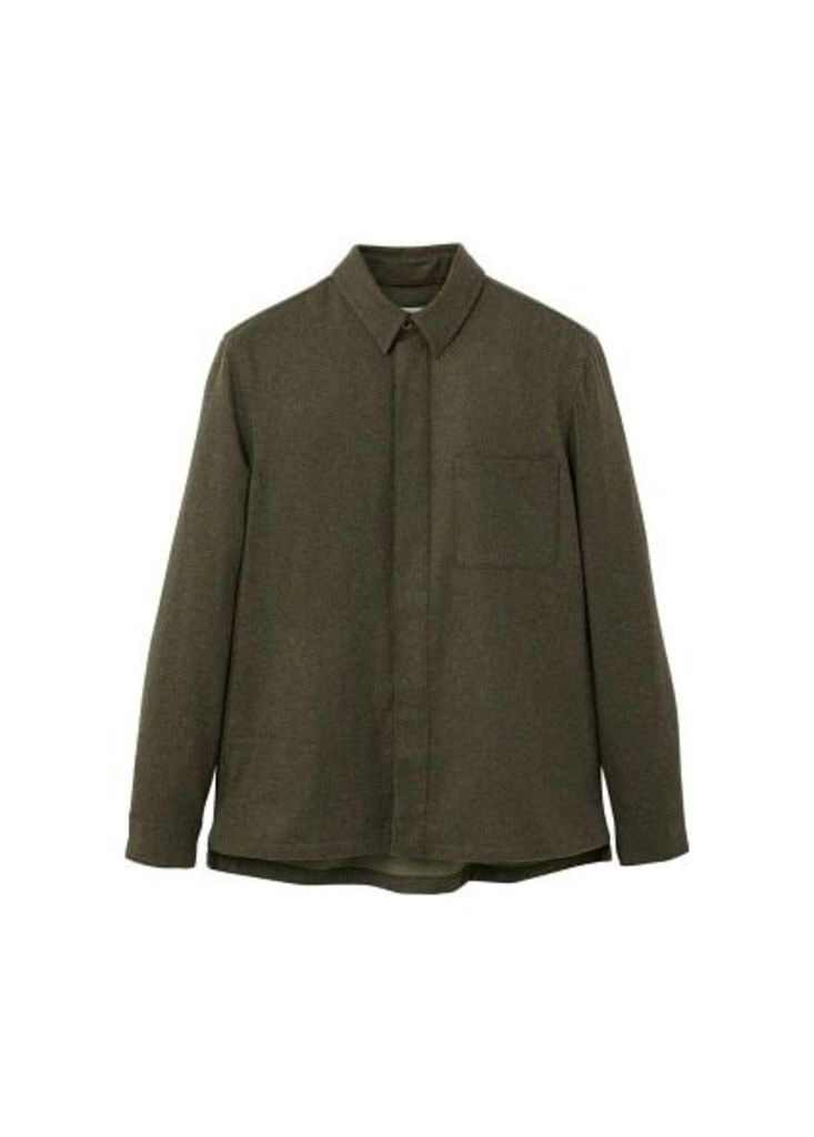 Recycled wool-blend overshirt