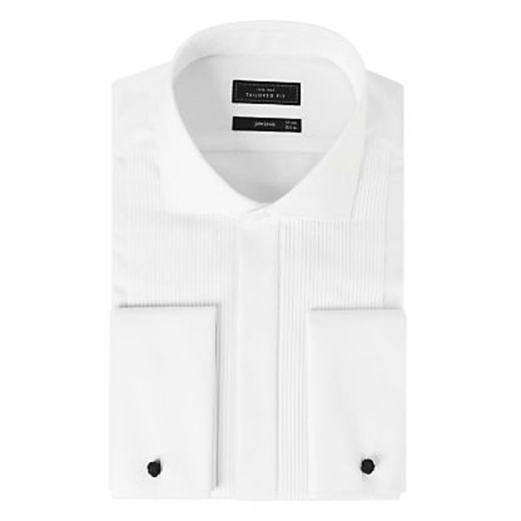 John Lewis Pleat Front Tailored Fit Dress Shirt, White