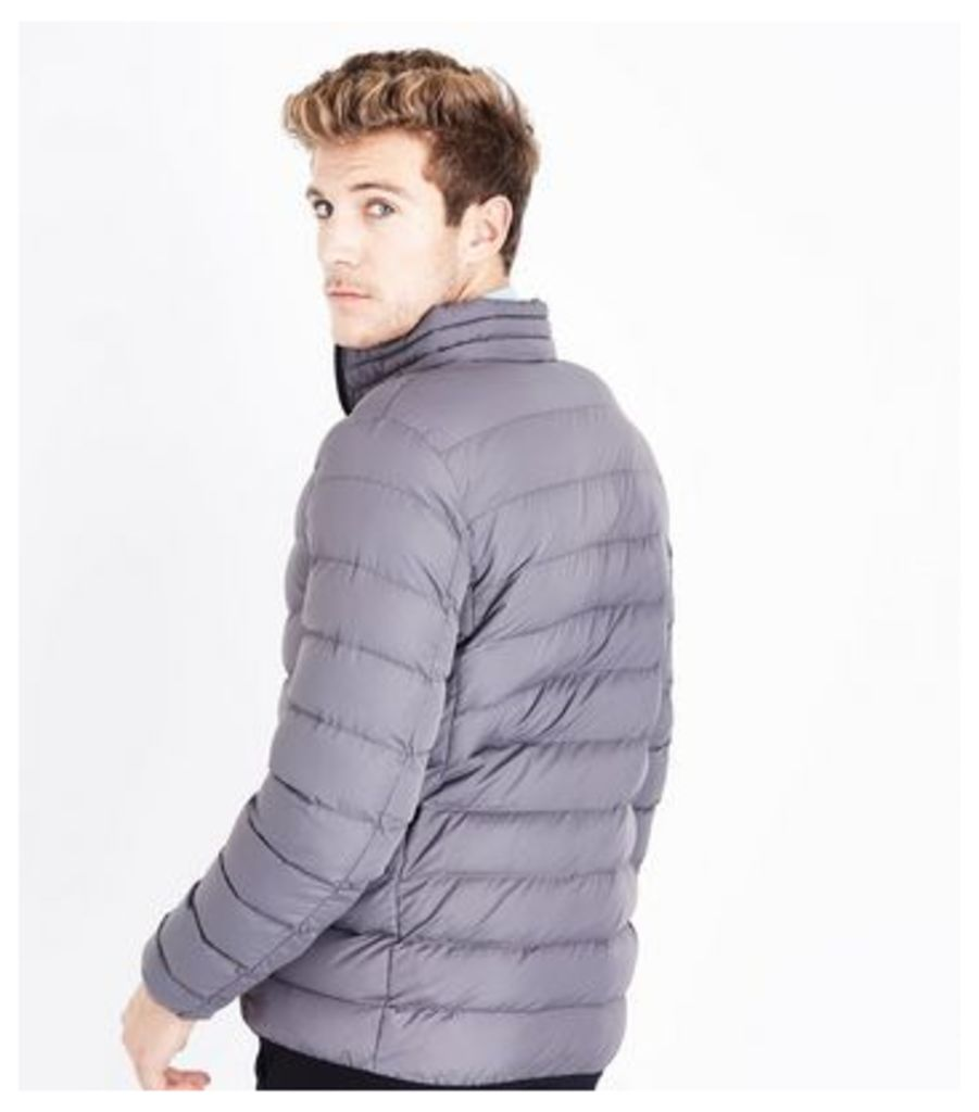 Grey Light Weight Puffer Jacket New Look