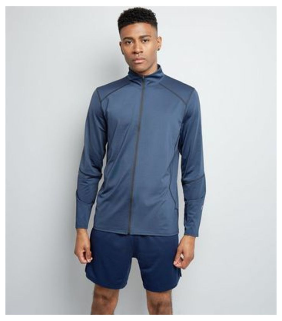 Navy Zip Front Sports Top New Look