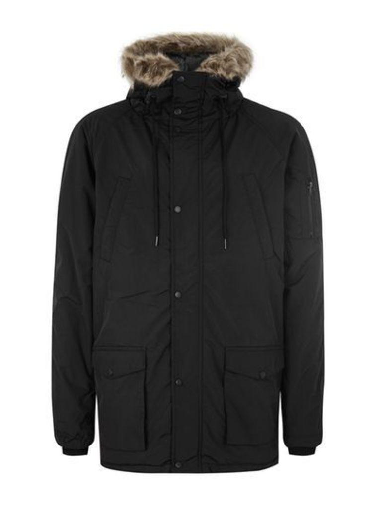 Mens HYPE Black Parka Jacket*, Black