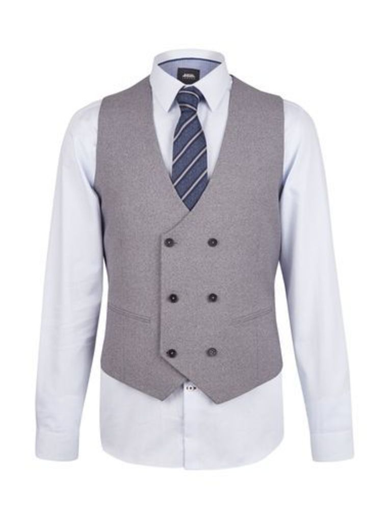Mens Grey Jaspe Slim Fit Waistcoat, Grey