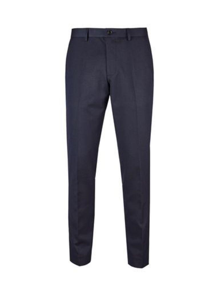 Mens Navy Blue Skinny Fit Herringbone Trousers, NAVY