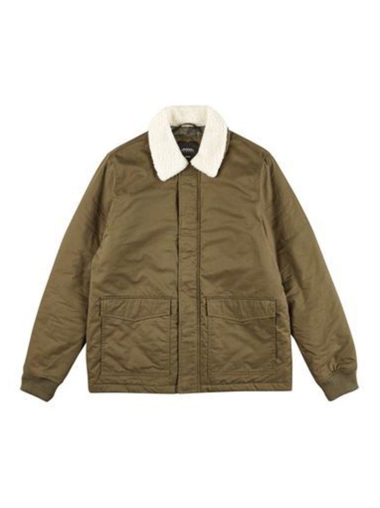 Mens Khaki Borg Collared Harrington Jacket, KHAKI