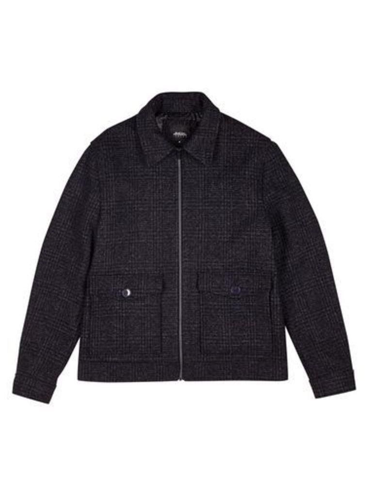Mens Grey Prince Of Wales Harrington Jacket, Grey