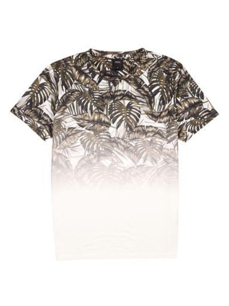 Mens White and Khaki Palm Print Fade T-Shirt, White