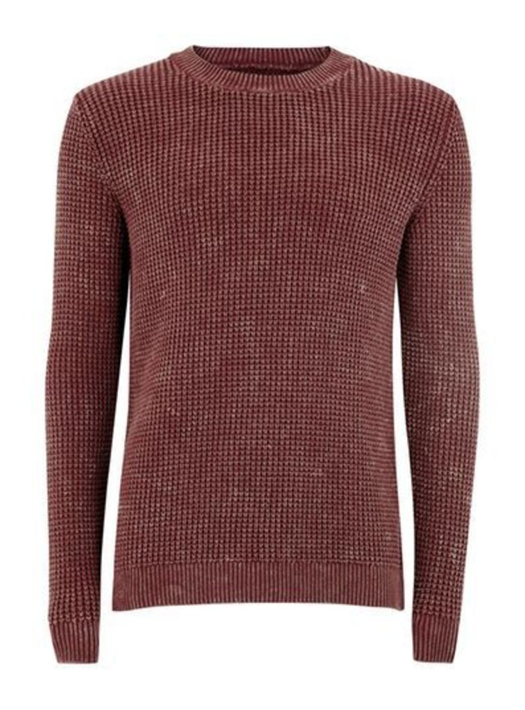 Mens Red Burgundy And Mustard Acid Wash Waffle Jumper, Red