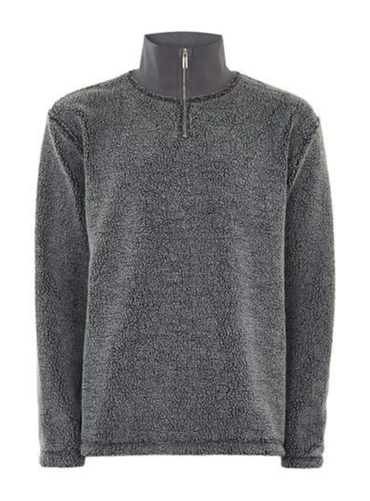 Mens LTD Grey Carson Borg Fleece, Grey