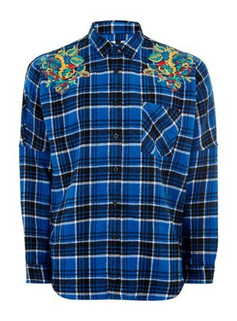 Mens Blue Embroidered Check Shirt, Blue