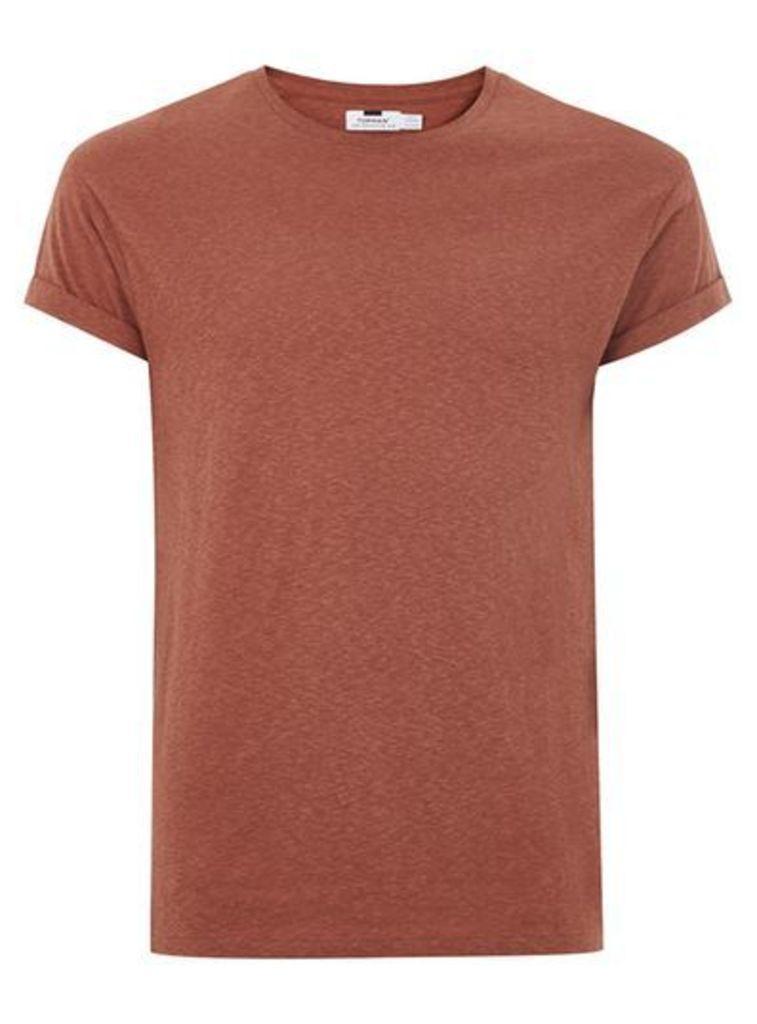 Mens Orange Brown Linen Muscle Fit T-Shirt, Orange