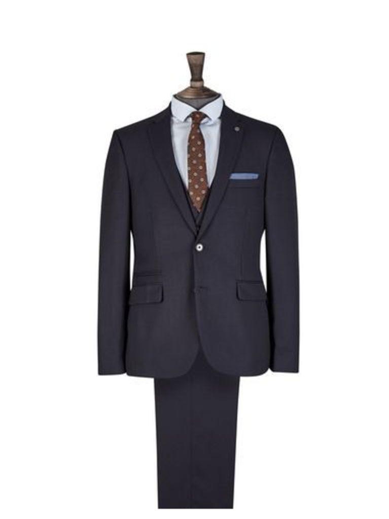 Mens Navy Pinstripe Skinny Fit Suit Jacket, Blue