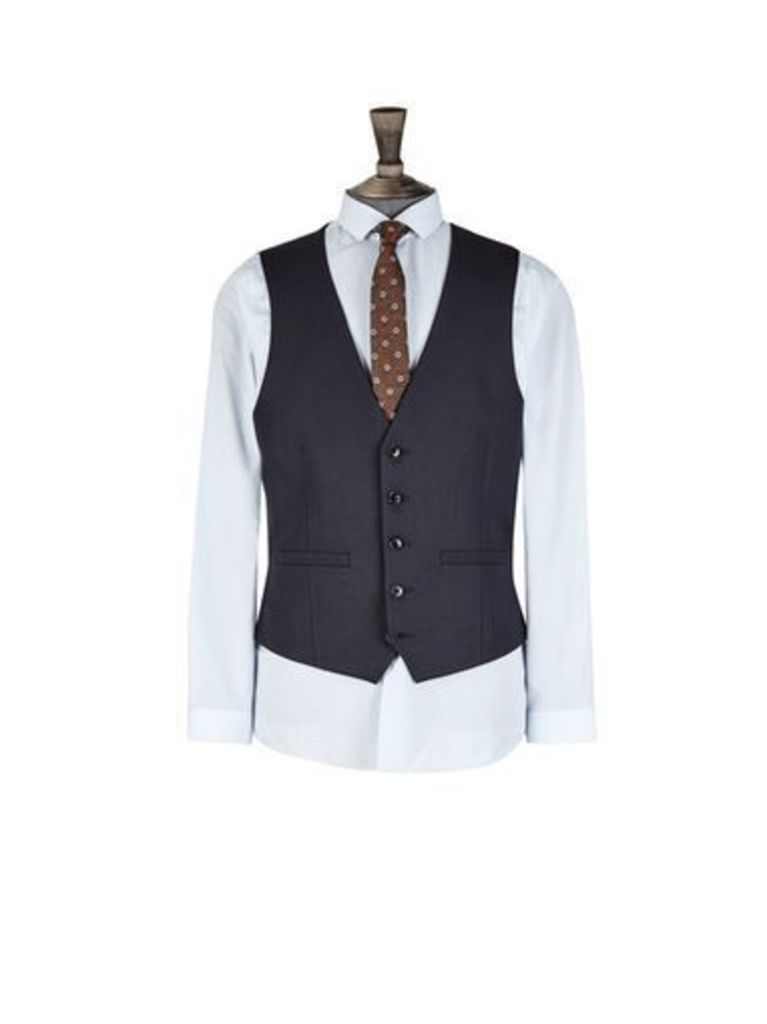 Mens Navy Pinstriped Skinny Fit Suit Waistcoat, Blue