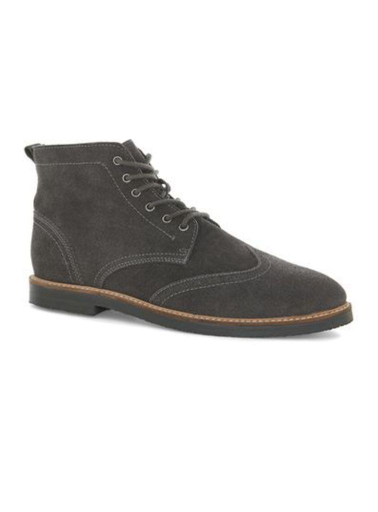 Mens UNION Curb Vintage Grey Suede Brogue Boots, Grey