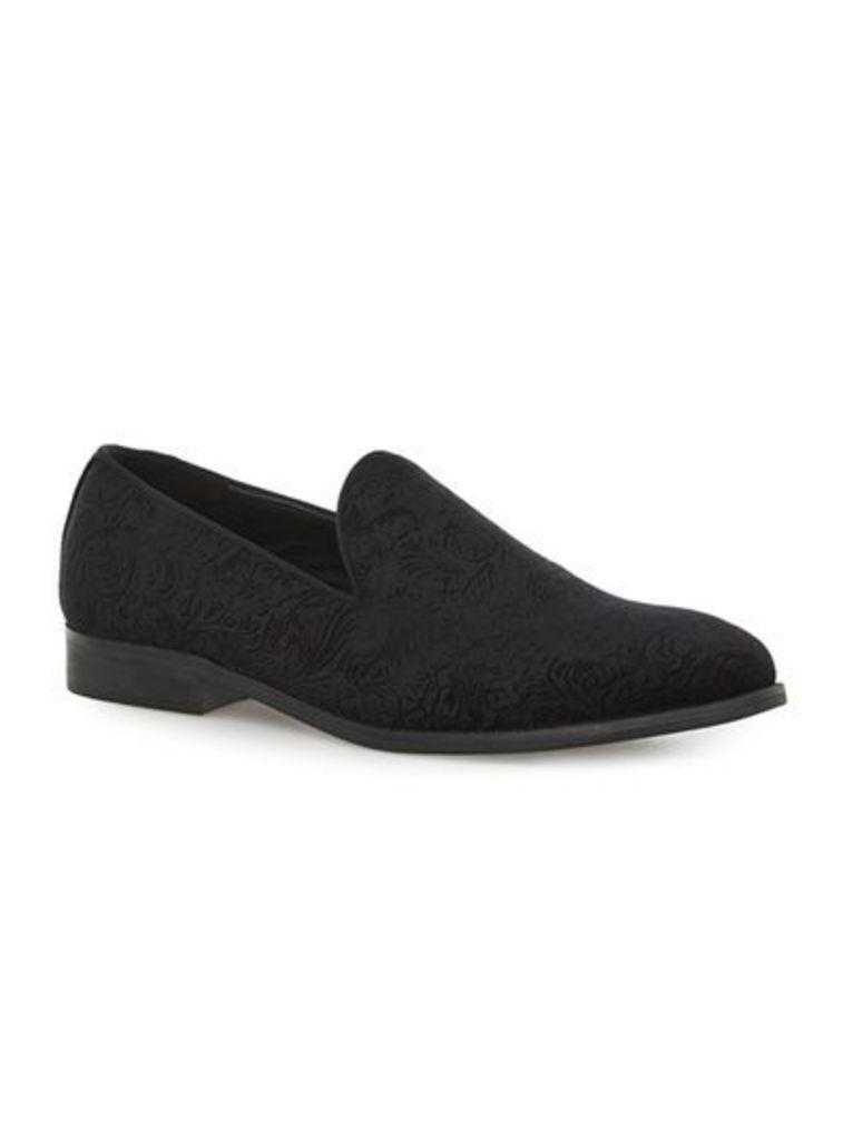 Mens Black Velvet Tassel Loafers, Black