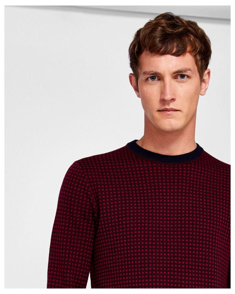 Ted Baker Herringbone jacquard wool jumper Dark Red