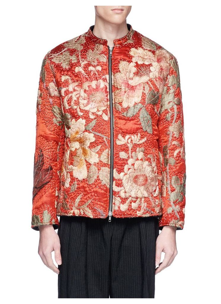 Floral embroidered silk satin bomber jacket