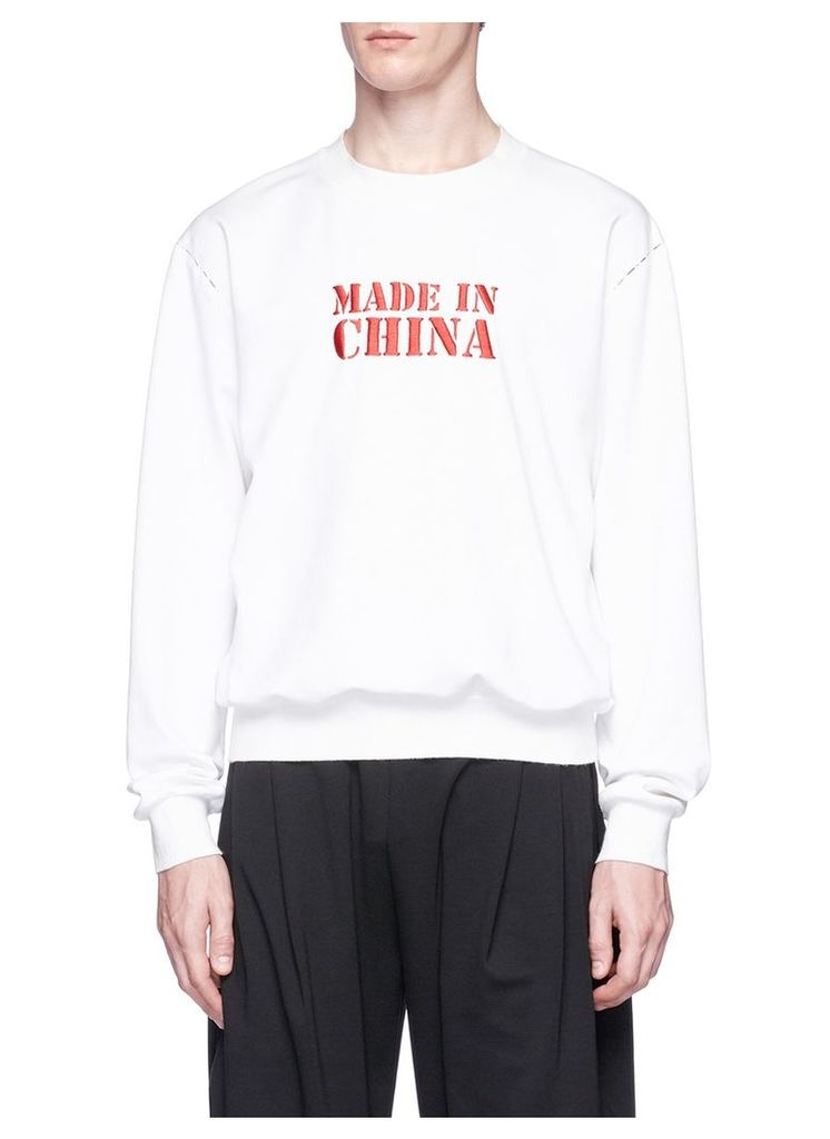 'Made In China' slogan embroidered sweatshirt